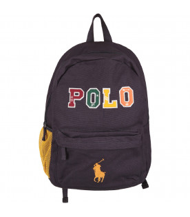 RALPH LAUREN KIDS Blue boy backpack with colorful logo