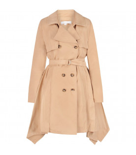 CHLOÉ KIDS Beige girl coat with belt