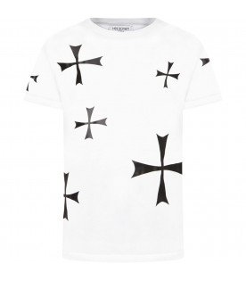 NEIL BARRETT KIDS White boy t-shirt with crosses