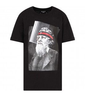 "NEIL BARRETT KIDS Black boy ""Philosopher Poseidon"" t-shirt"