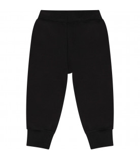 NEIL BARRETT KIDS Black baby boy sweatpants with white thunders