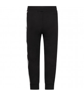 GIVENCHY KIDS Black kids sweatpants with black rubbred logo