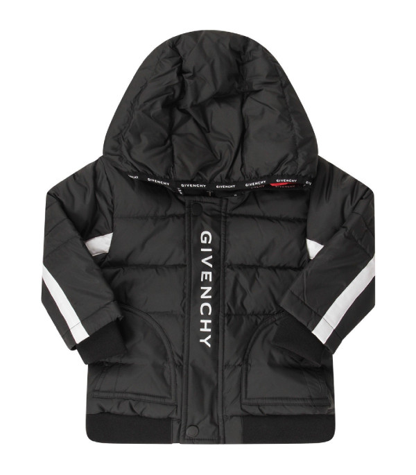 GIVENCHY KIDS Black babyboy jacket with white logo