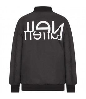 NEIL BARRETT KIDS Black boy bomber jacket with white logo