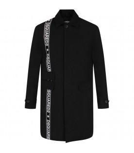 DSQUARED2 Black kids coat with white logo
