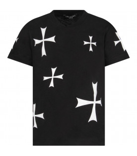 Black boy T-shirt with white cross