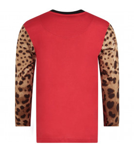 DOLCE & GABBANA KIDS Red girl T-shirt with iconic leopard