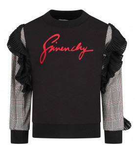 GIVENCHY KIDS Black girl sweatshirt with red logo