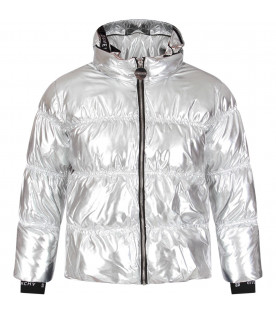GIVENCHY KIDS Silver girl jacket with white logo