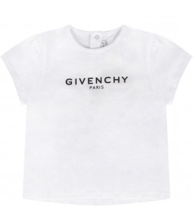 GIVENCHY KIDS White babygirl T-shirt with black logo
