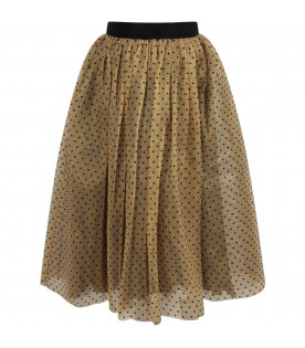 Gold woman skirt with polka-dots