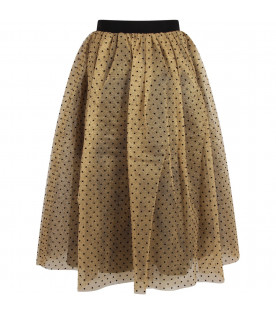 Gold skirt for woman with polka-dots