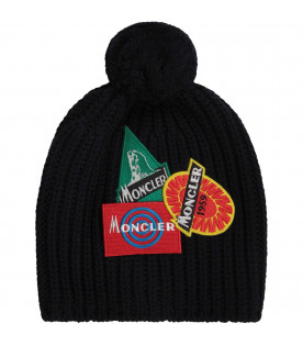 Blue boy hat with colorful patches with logo