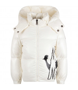 White girl jacket with black logo