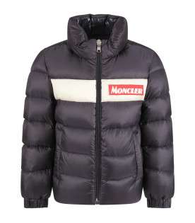 MONCLER KIDS Blue boy jacket with red patch and logo