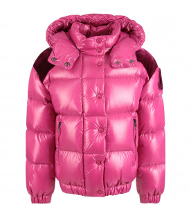 MONCLER KIDS Purple girl jacket with velvet logo and details