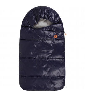 Blue babyboy sleeping bag with iconic logo