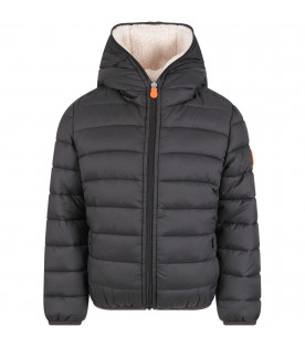 SAVE THE DUCK KIDS Black kids jacket with iconic logo
