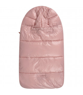 SAVE THE DUCK KIDS Pink babygirl sleeping bag with iconic logo