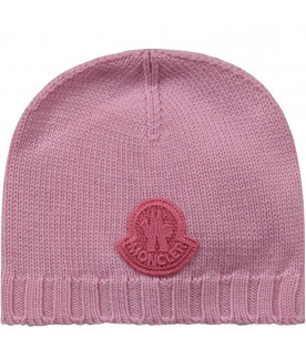 MONCLER KIDS Pink girl hat with rubbred patch