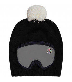 MONCLER KIDS Cappello nero per bambino con iconico patch