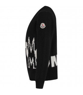 Black kids sweater with white logo