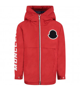 MONCLER KIDS Red boy jacket with white and blue iconic patch