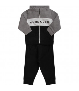 Black and grey babyboy tracksuit with black logo