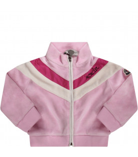 Pink babygirl tracksuit with black logo