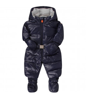 Blue babyboy puff overall with iconic logo
