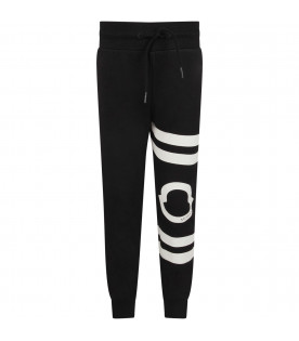 MONCLER KIDS Black boy sweatpant with iconic logo