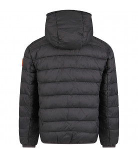 SAVE THE DUCK KIDS Black boy jacket with iconic logo