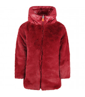 SAVE THE DUCK KIDS Red girl faux fur with iconic logo