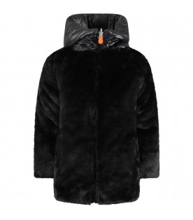 SAVE THE DUCK KIDS Black girl faux fur with iconic logo