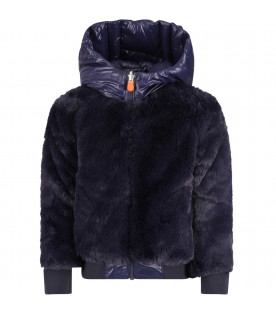 SAVE THE DUCK KIDS Blue girl faux fur with iconic logo