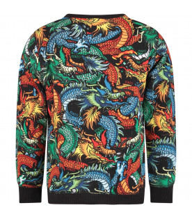 KENZO KIDS Black boy sweatshirt with colorful japanese dragons
