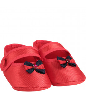Red babygirl flat shoes with bow