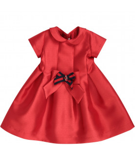 LÒLÒ Red girl dress with red and blue bow
