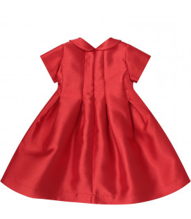 Red dress for girl with red and blue bow
