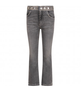 Grey jeans for girl with iconic D and rhinestones