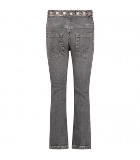 DONDUP KIDS Grey girl jeans and iconic D and rhinestones