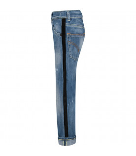 Denim boy jeans with iconic D and black stripes