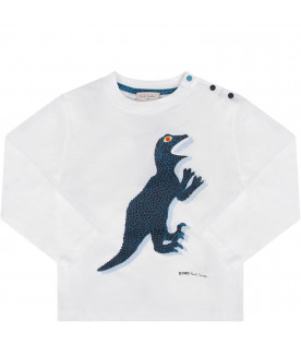 PAUL SMITH JUNIOR White babyboy T-shirt with iconic dinosaur