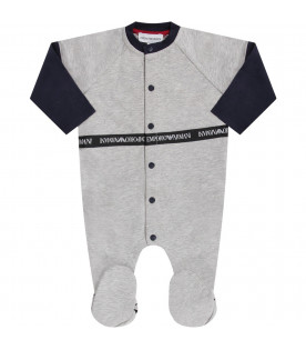 Grey babyboy babygrow with white logo
