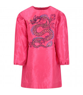 KENZO KIDS Fucshia girl dress with japanese dragon