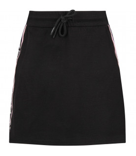 KENZO KIDS Black girl skirt with white logo
