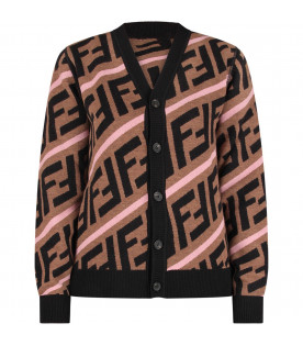 FENDI KIDS Brown girl cardigan with black double FF