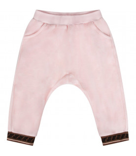 FENDI KIDS Pink babygirl pants with double FF