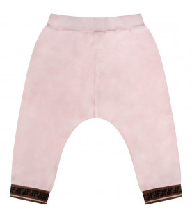 Pink babygirl pants with double FF