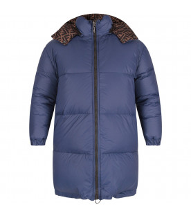 FENDI KIDS Blue and brown kids jacket with double FF